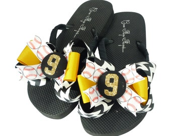 068e457eed1f6 Glitter Baseball Flip Flops- Black Chevron   Gold - Choose your Team Colors  - personalized Number
