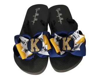 7ef3203900c958 Glitter Initial Cheerleading Bow Flip Flops - Match team colors -  Customized- Navy   Gold or choose colors
