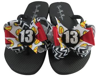 ce54fd97626876 Softball Flip Flops - Glitter Number Chevron Bows - Design your own ribbon  colors - softball gift for girl s sandals