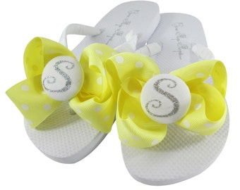 e3732efdf906b Yellow Maize   Silver Glitter Flip Flops with Bows and Personalized for  Ladies and Girls. Many Colors