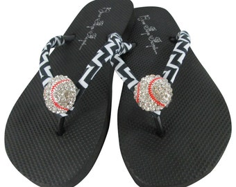 e16f4cfd8cbf Baseball Flip Flops -Chevron Black Ribbon for Baseball Moms or choose colors-  flat or wedges