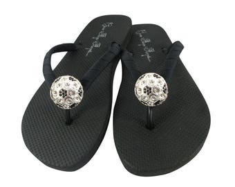 13a5ced1f3801a Custom design your Soccer Mom and Soccer Player Girl Flip Flops with Bling