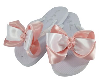 f39e1acac Flower Girl or Bridesmaid Flip Flops with Big Cute Satin Double Bows with  Knotted Center - Pink and White or Choose any Wedding Colors