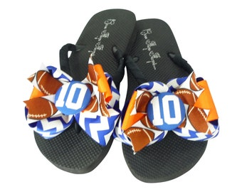 491287143f7bb8 Royal Chevron   Orange - to You Pick Colors - Custom glitter Bow Football flip  flops - Player Number Team Mom