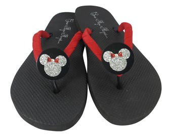 461132804 Disney Minnie Mouse Glitter Flip Flops Gift- Red Black Silver  many colors.  Custom Bling on Flat or Wedge Flip Flops