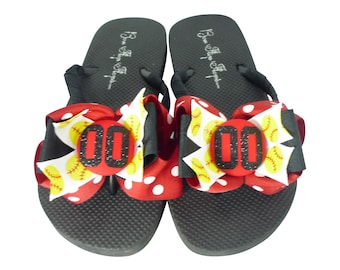 77040fb6259cf2 Black with Red Polka Blingy Player Number Softball Flip Flops with Bows for  Girls