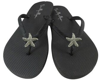 55daf82cb3504a Starfish Rhinestone Ribbon Flip Flops- Weddings
