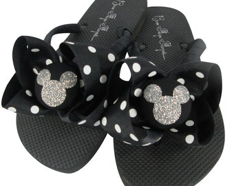 e095f0a89 Vacation Disney Flip Flops with Bling! Many Colors. Black Polka and Glitter  Mickey Mouse Bows. All sizes. Ladies Girls. Disney Cruise