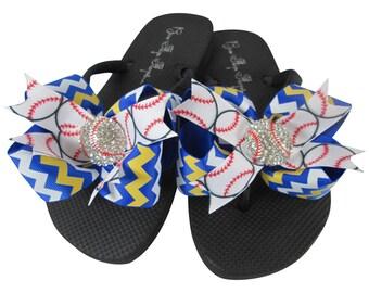 e51413cf482bf Baseball Flip Flops with Bling Rhinestone-Royal Blue and Yellow Gold  chevron Bow Flip Flops-choose any col