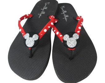 3e1c99d5919 Customized Bling Disney Flip Flops with Glittery Mickey in Sparkle