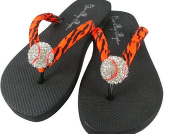 680891368e0f26 Baseball Flip Flops with Neon Orange Zebra ribbon   bling for baseball mom