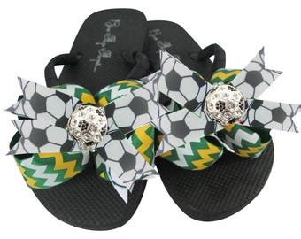 18131746c336 Chevron Rhinestone Soccer Bling Flip Flops with Bows- emerald   gold or  choose team colors