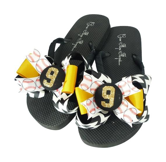 19b624254678 Glitter Baseball Flip Flops Black Chevron   Gold Choose