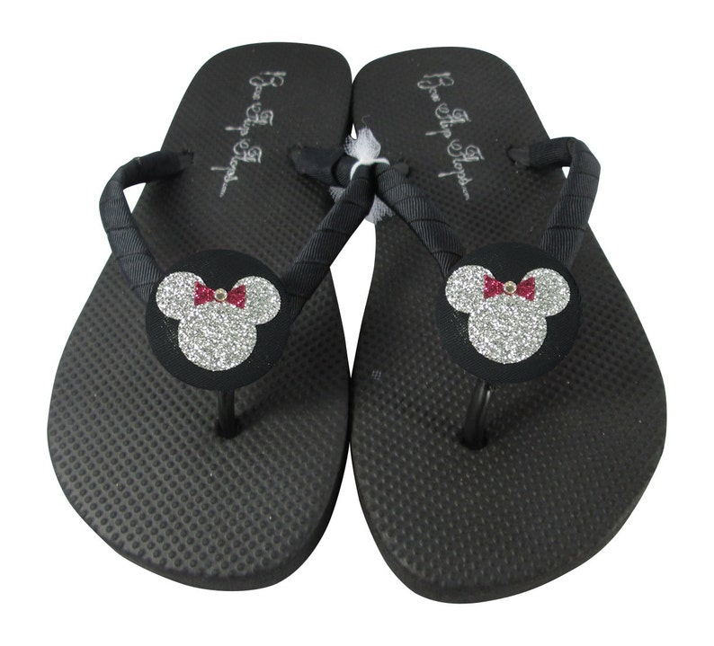 39a36ad11f0b Bling Minnie Mouse Disney Flip Flops for Women or Girls