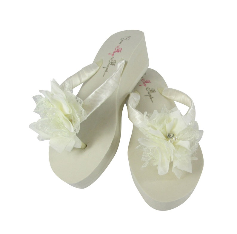 299c53485a1e1 Lace Flower Wedding Flip Flops with Rhinestone   Pearl Accents
