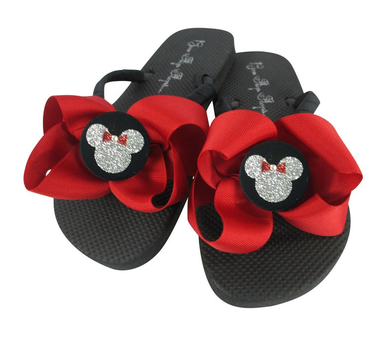 60a611149 Red Solid Bow Flip Flops with Black Button Silver glitter