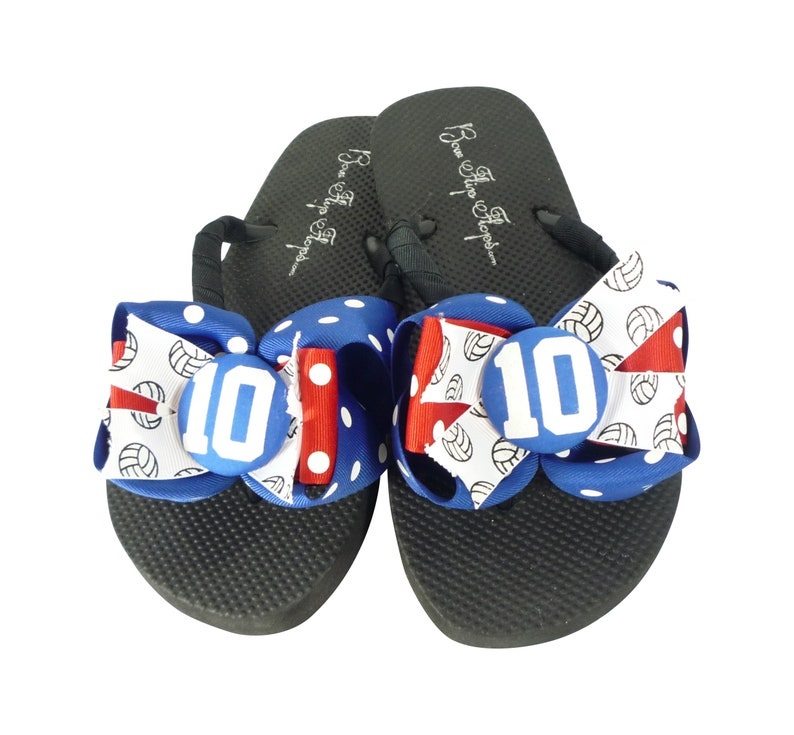 Gymnastics Glitter Initial Bow Flip Flops Maroon Black Chevron Red Navy Gold Silver Match Leo Colors and Gym Team Personalized Bling