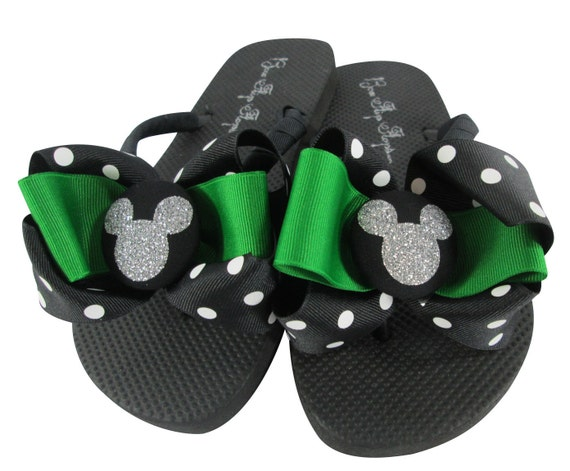 or ladies accent any vacations green emerald ribbon for Polka the Dot Mickey disney color glitter for Flip girls cruises Flops bows and xnqw7xg6AY