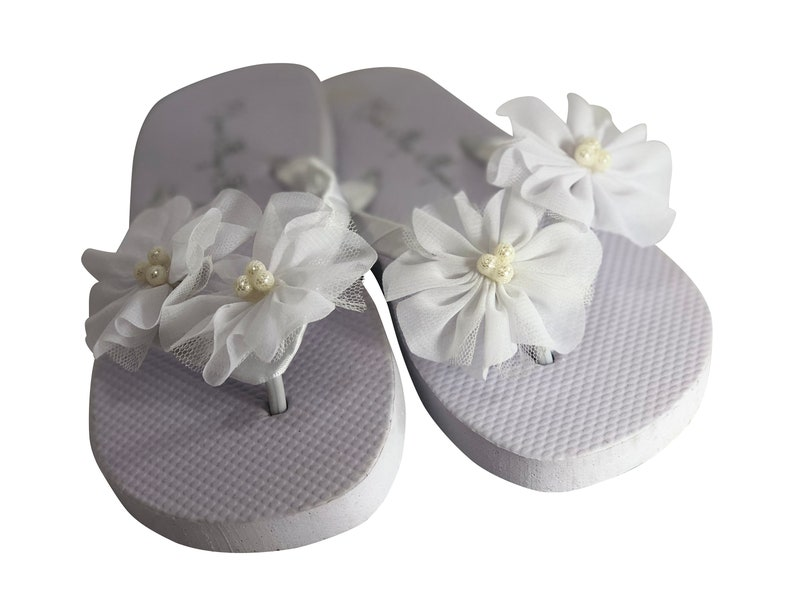 f40ef4356700 Flat White Chiffon Pearl Flower Flip Flops Or Wedge Heel in