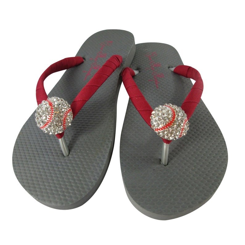 Rhinestone Baseball Flip Flops Player Team Gift Gray and Cranberry Red or Choose Colors Baseball Mom Flip Flop Sandals