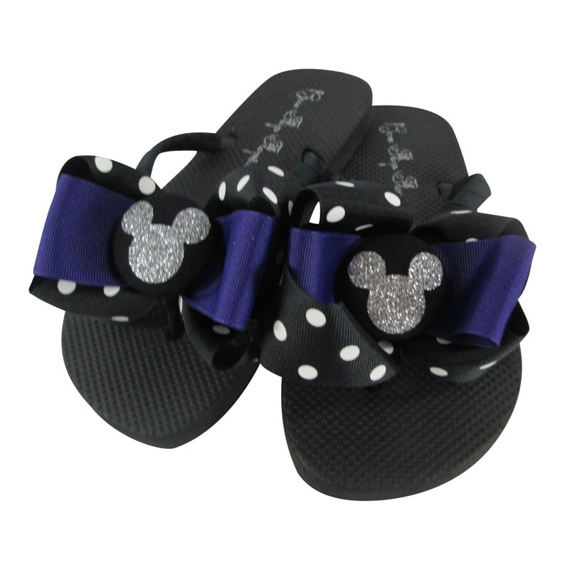 Disney Silver Glitter and Black Polka Dot Bow Flip Flops for ladies and girls of all ages custom colors Purple