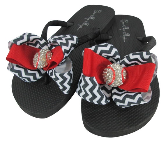 57103fcc87371e Chevron Flip Flops with Baseball Bling  Rhinestone Bow red