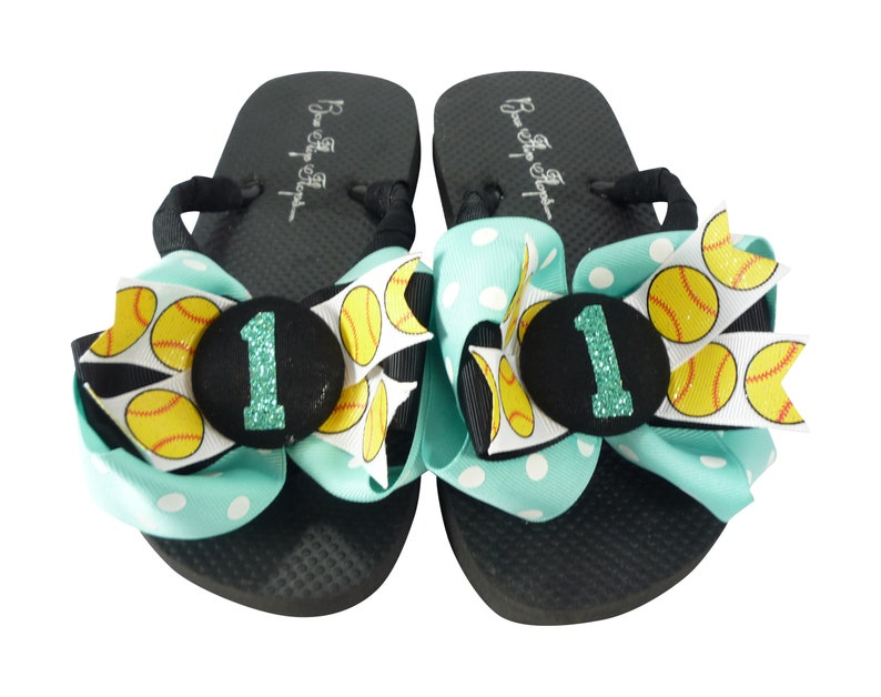 5d0ceefaa54520 Aqua Blue Jade Glitter Softball Flip Flops with Number Bows