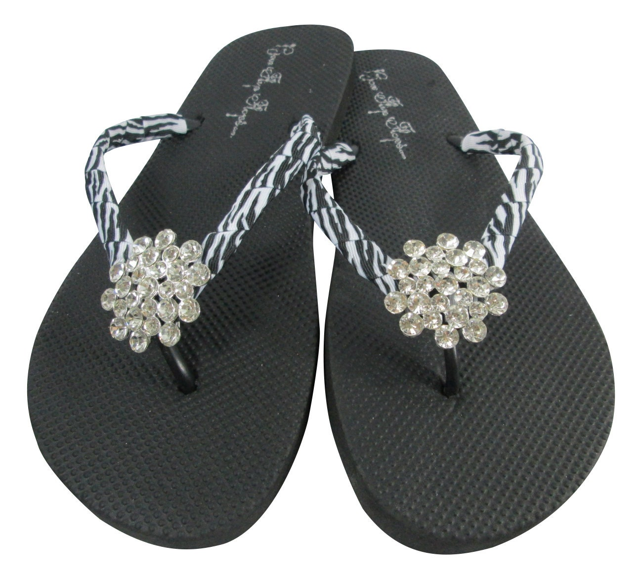 65a72590830b Rhinestone Flip Flops with Zebra Bling jewels on flat black