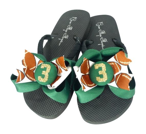 cc9082a53061 Football Glitter Number Bow Flip Flops Green   Gold or Match