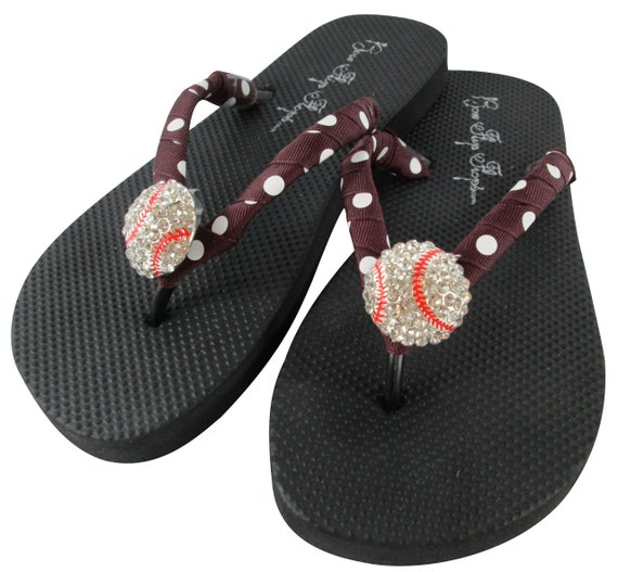 5fab9d0af49d Baseball Flip Flops-Bling rhinestone on black with Maroon