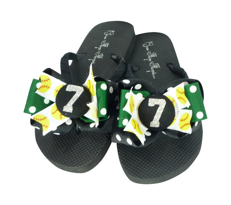 5f15596d4b2b Glitter Player Number Softball Flip Flops with Bows for Girls