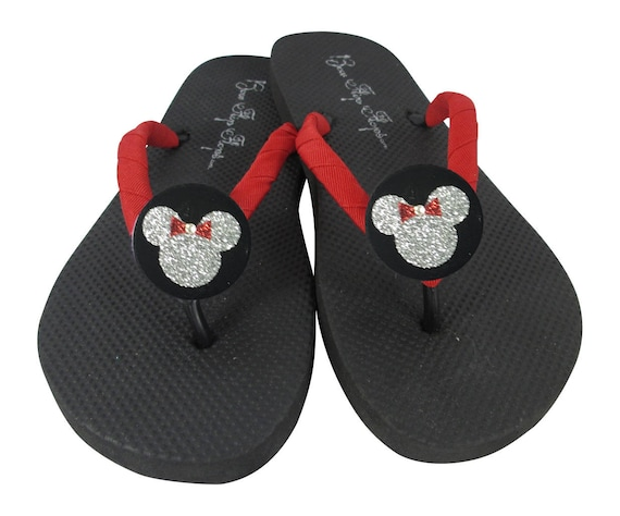Disney on Flip Custom ladies colors many Minnie women Glitter Red Mouse Flip Gift Bling Flat girls Flops or Wedge Silver Black Flops rrFTO