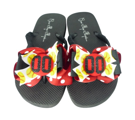 Ladies Bows Softball Player Flip Girls Mom with Children Flops Number Glitter for wpYzqETxz