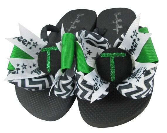 f4c74e078875b Chevron Glitter Personalized Cheer Flip Flops Any Sport