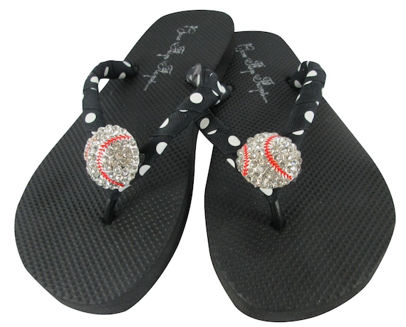 team colors dot Flops Flip Baseball black own polka design custom your bling xqvaaz