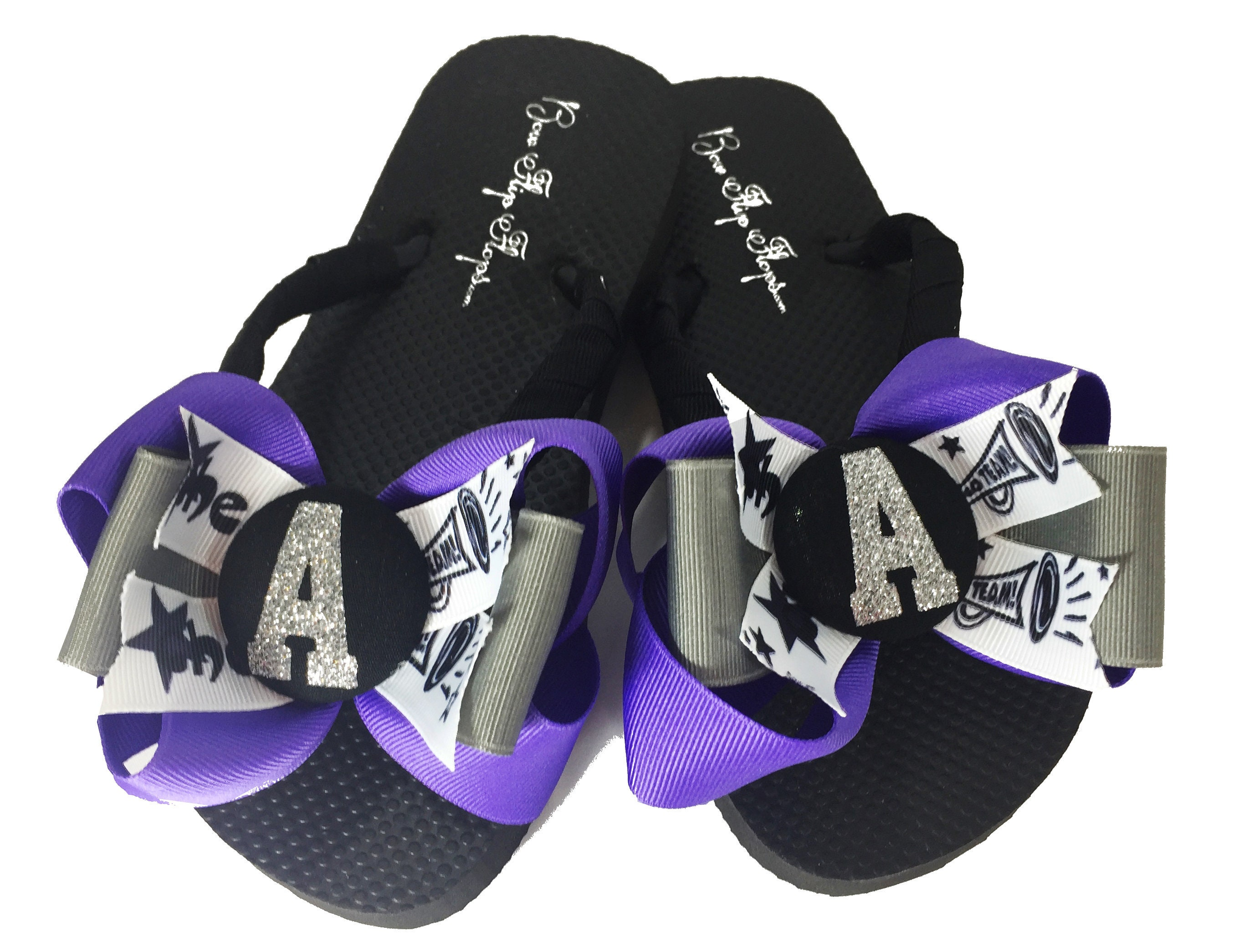 514c95c92490e Purple Periwinkle and Gray Glitter Initial Cheerleading Bow