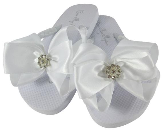 933b2e7a1 Flower Girl or Bride Flip Flops with Daisy Rhinestone