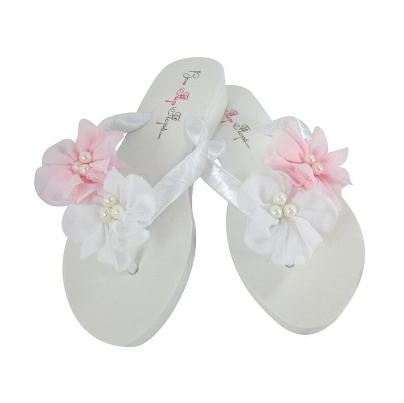 ec235e55bcb11 Chiffon Pearl Flower Flip Flops Choose Pink   White