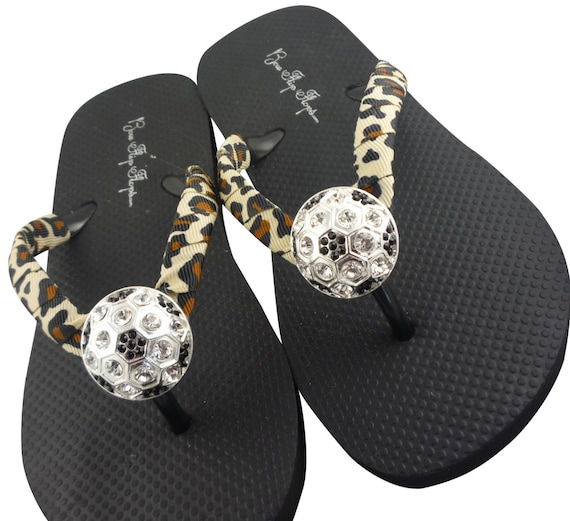 16f8d5a32ac7be Leopard Soccer Bling Flip Flops   many colors to choose from