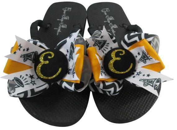 23ae12cb5fce3 Cheer Flip Flops Black Chevron Gold Glitter Initial