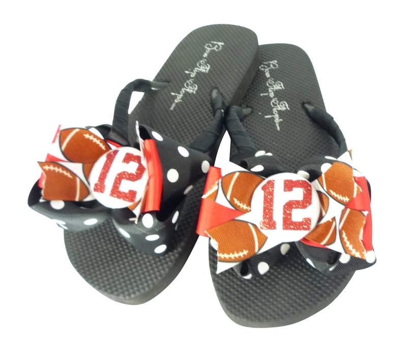 Glitter Number Team Mom Sister Girlfriend Black /& Red or Choose your Team School Colors Personalized Football Flip Flops
