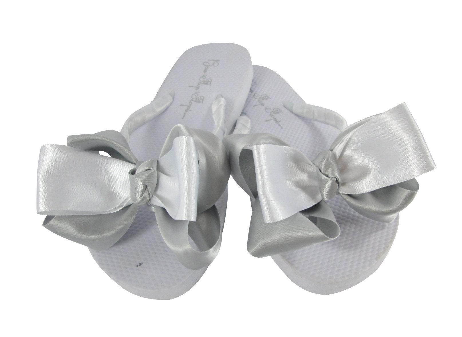 800276fed4e4 Silver Wedding White Flip Flops Wedges Flats Platinum Bride