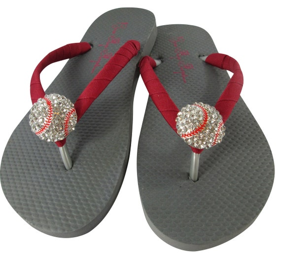 6ce66741c792 Rhinestone Baseball Flip Flops Gray and Red or Choose Colors