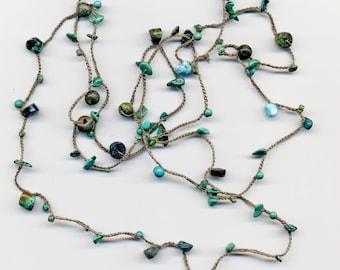 Long crochet strand necklace