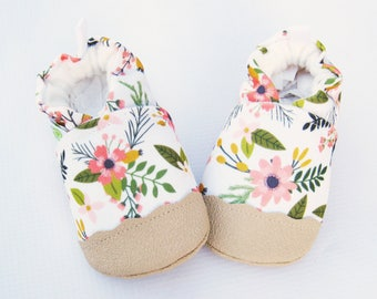 f67f7a3077e5 Eco-Canvas Vegan Sprigs and Blooms in Coral   non-slip soft sole baby shoes    made to order   babies toddlers preschool