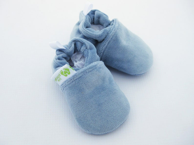Classic So Soft Cotton Velour in Sky  All Fabric Baby Shoes  Made to Order  Babies