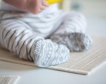 Organic Knits Vegan Tribal in Grey  All Fabric Soft Sole Baby Shoes / Made to Order / Babies