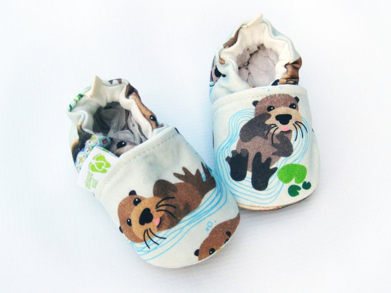 Organic Knits Vegan Sea Otter/ All Fabric Soft Sole Baby Shoes image 0
