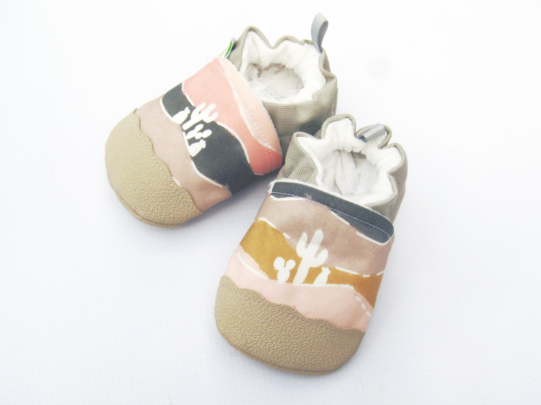 Organic Vegan Desert Saguaro soft in Pink / non-slip soft Saguaro sole baby shoes / Made to Order / Babies Toddler Preschool 28929f