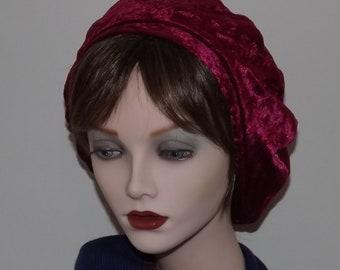 542d5e6454701 SALE - Red Velour Fashion Beret